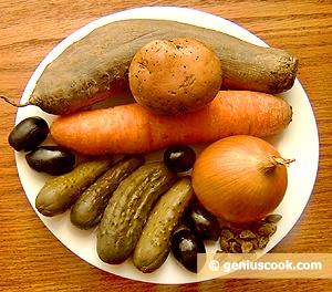 Ingredients for Red Beetroot Salad Vinegret