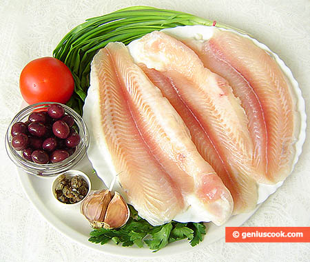Ingredients for Simmered Haddock Fillet with Olives