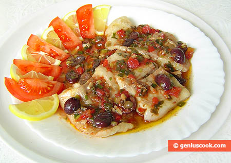 Simmered Haddock Fillet with Olives