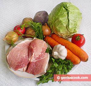Ingredients for Borsch