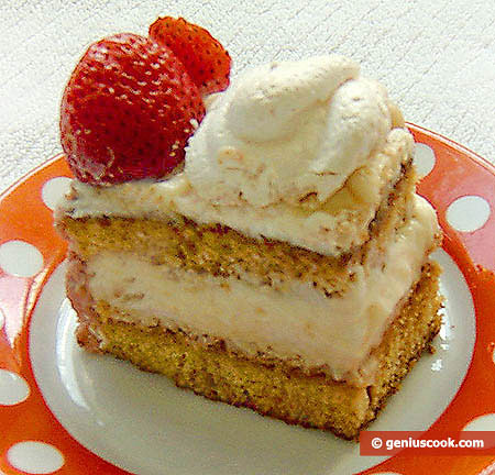 A piece of Meringue Cake with Strawberry