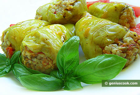 Bell Pepper Stuffed with Meat and Rice