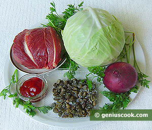 Ingredients for Beef Salad with Red Onion
