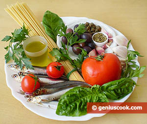 Ingredients for Spaghetti with Anchovies and Olives