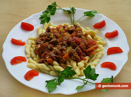 Fusilli with Vegetables and Chicken Liver