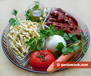 Ingredients for Fusilli with Vegetables and Chicken Liver