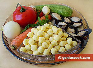 Ingredients for Gnoccetti with Mussels and Vegetables