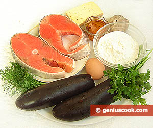 Ingredients for Pie with Salmon and Eggplant