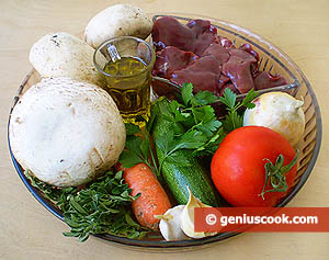 Ingredients for Champignons Stuffed with Chicken Liver and Vegetables