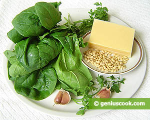 Ingredients for Cheese Roll with Spinach and Pine Nut