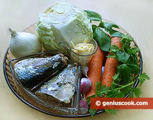 Ingredients for Mackerel and Vegetables Salad
