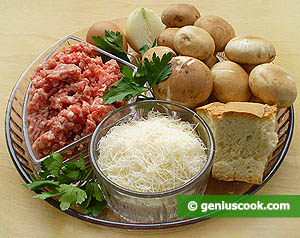 Ingredients for Pork Meatballs with Mushrooms