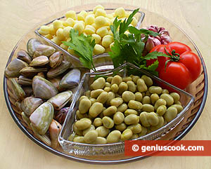 Ingredients for Potato Gnoccetti with Shellfish and Beans
