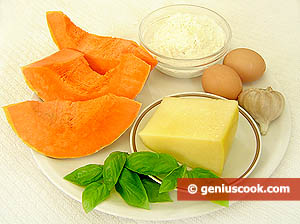 Ingredients for Pumpkin Fluffy Pancakes with Cheese