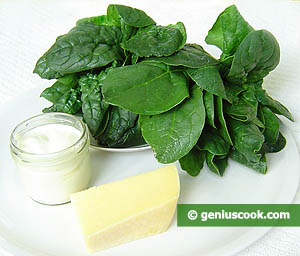 Ingredients for Spinach Simmered in Cream Sauce