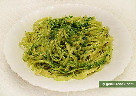 Bavetti Pasta with Pesto Genovese Sauce
