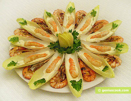 Endive Leaves Stuffed with Tiger Shrimp