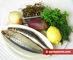 Ingredients for Sardine Appetizer with Laminaria and Beet