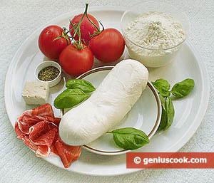 Prosciutto, Tomatoes, Yeast, Oregano, Flour, Mozzarella, Basil