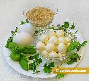 Mozzarella Cheese Balls, Eggs, Basil, Breadcrumbs