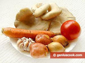 Oyster Mushrooms, Carrot, Onion, Garlic, Tomato, Potato