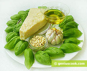 Ingredients for Pesto Genovese Sauce: Parmesan Cheese, Garlic, Olive Oil, Basil, Pine Nuts