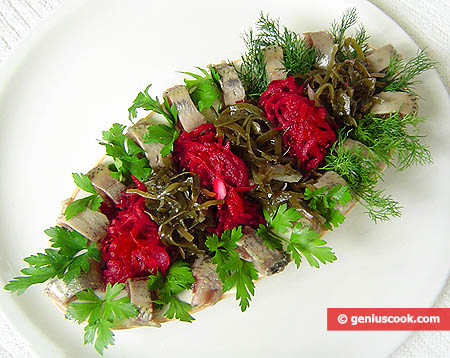 Sardine Appetizer with Laminaria and Beet