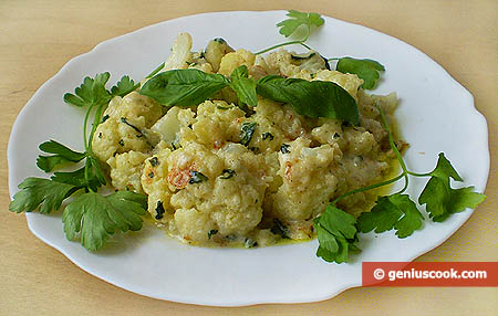 Simmered Cauliflower with Cheese