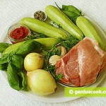 Ingredients for Stuffed Zucchini: Zucchini, Meat, Basil, Onion, Tomato Paste