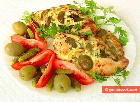 Chicken Breasts with Olives and Cornichons