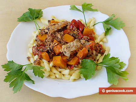Fusilli with Pumpkin and Mackerel Sauce