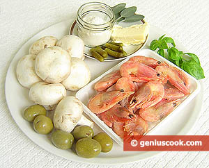Ingredients for Champignons Stuffed with Shrimp Sauce