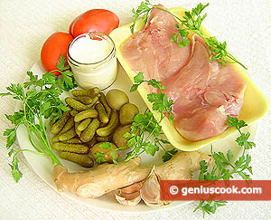 Ingredients for Chicken Breasts with Olives and Cornichons