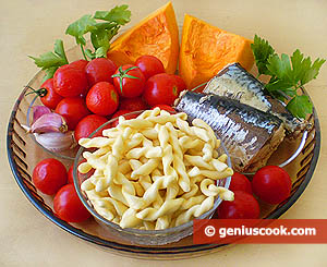 Ingredients for Fusilli with Pumpkin and Mackerel Sauce