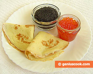 Ingredients for Pancakes Stuffed with Red and Black Caviar
