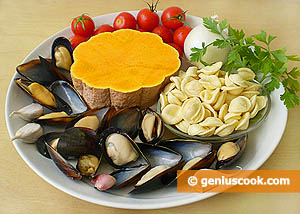 Ingredients for Pasta with Pumpkin and Mussels