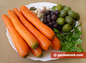 Ingredients for Carrot and Olive Salad