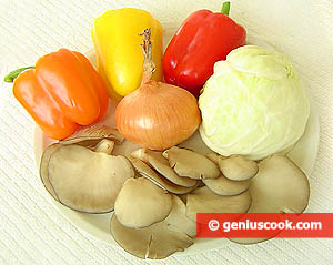 Ingredients for Simmered Oyster Mushrooms with Cabbage and Sweet Pepper