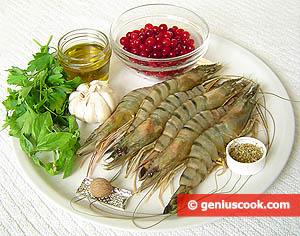 Ingredients for Simmered Tiger Shrimp in Cranberry Sauce