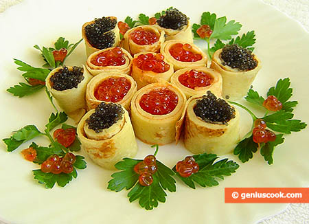 Pancakes Stuffed with Red and Black Caviar