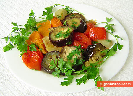 Simmered Eggplant and Pumpkin