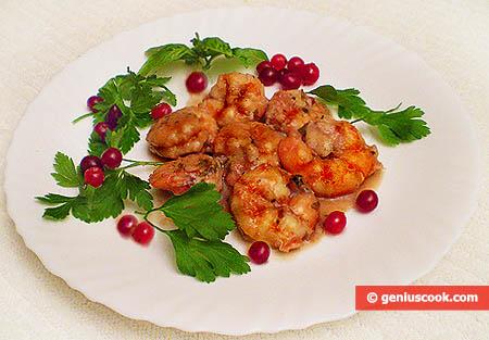 Simmered Tiger Shrimp in Cranberry Sauce