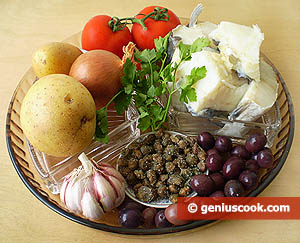 Ingredients for Dry-cured Cod with Olives and Capers