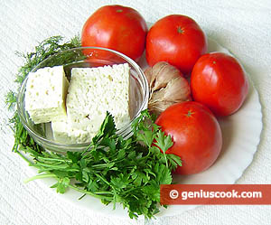 Ingredients for Feta Cheese Stuffed Tomatoes Appetizer