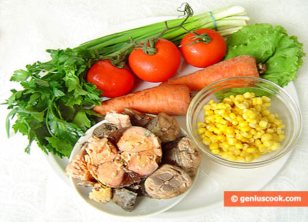 Ingredients for Tuna, Tomato, and Carrot Salad