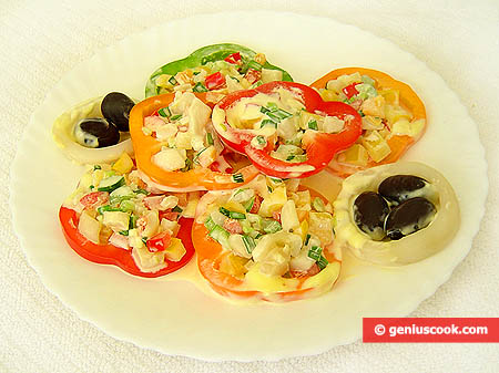 Squid and Sweet Pepper Salad in Portions