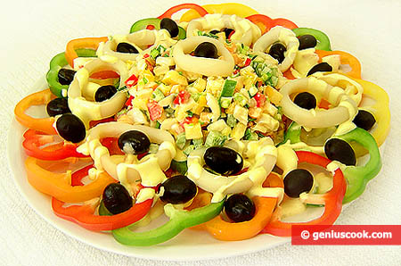 Squid and Sweet Pepper Salad