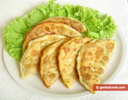 Chebureki Filled with Cheese and Greens