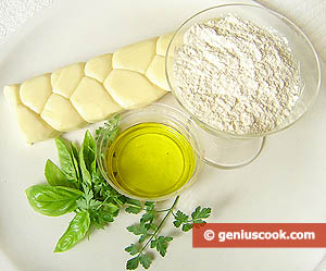 Ingredients for Chebureki Filled with Cheese and Greens