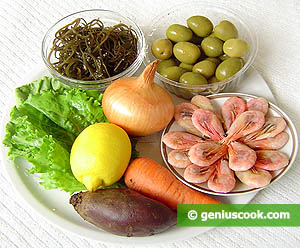 Ingredients for Laminaria Salad with Shrimp
